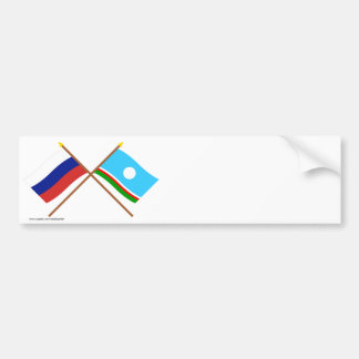 Crossed flags of Russia and Sakha Republic Bumper Stickers