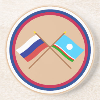 Crossed flags of Russia and Sakha Republic Coaster