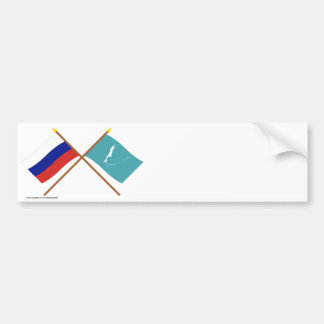 Crossed flags of Russia and Sakhalin Oblast Bumper Sticker