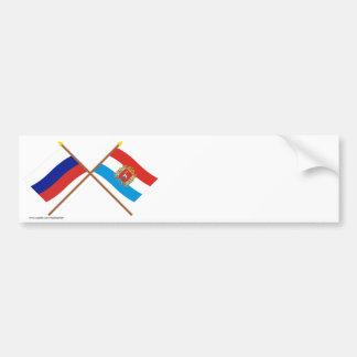 Crossed flags of Russia and Samara Oblast Bumper Sticker