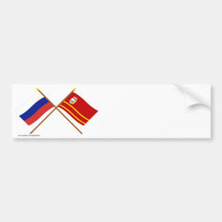 Crossed flags of Russia and Smolensk Oblast Bumper Stickers