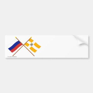 Crossed flags of Russia and Stavropol Krai Bumper Stickers