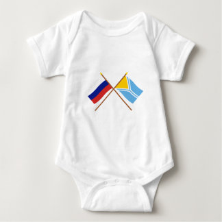 Crossed flags of Russia and the Tyva Republic Baby Bodysuit