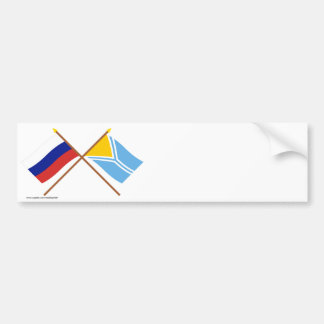 Crossed flags of Russia and the Tyva Republic Bumper Stickers