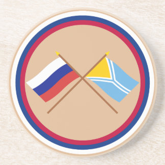 Crossed flags of Russia and the Tyva Republic Coaster