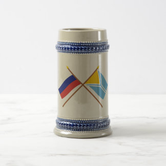 Crossed flags of Russia and the Tyva Republic 18 Oz Beer Stein