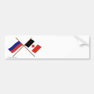 Crossed flags of Russia and the Udmurt Republic Bumper Stickers