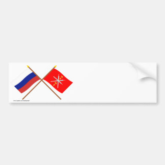 Crossed flags of Russia and Tula Oblast Bumper Stickers