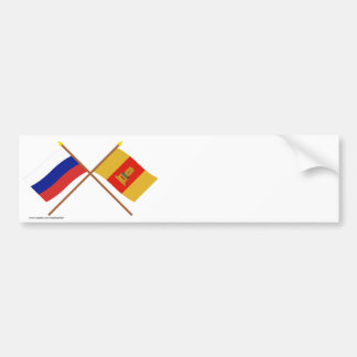 Crossed flags of Russia and Tver Oblast Bumper Stickers