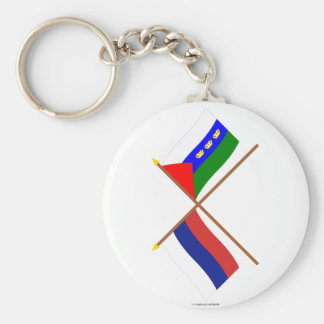 Crossed flags of Russia and Tyumen Oblast Basic Round Button Keychain