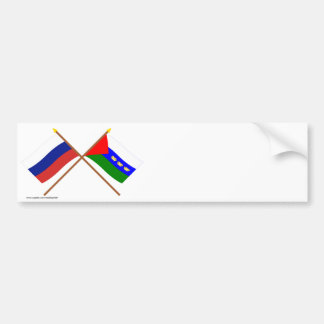 Crossed flags of Russia and Tyumen Oblast Bumper Sticker
