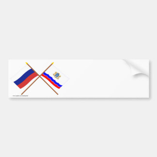 Crossed flags of Russia and Ulyanovsk Oblast Bumper Sticker