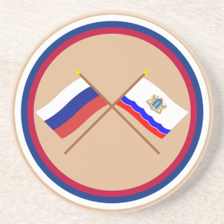 Crossed flags of Russia and Ulyanovsk Oblast Drink Coaster