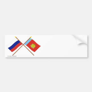 Crossed flags of Russia and Vladimir Oblast Bumper Sticker