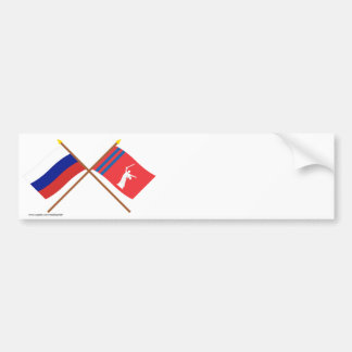 Crossed flags of Russia and Volgograd Oblast Bumper Stickers