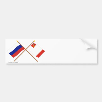 Crossed flags of Russia and Vologda Oblast Bumper Sticker