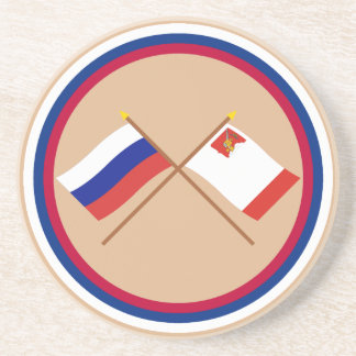 Crossed flags of Russia and Vologda Oblast Coasters