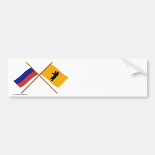 Crossed flags of Russia and Yaroslavl Oblast Bumper Stickers