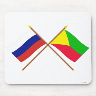 Crossed flags of Russia and Zabaykalsky Krai Mouse Pad