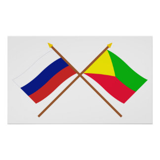 Crossed flags of Russia and Zabaykalsky Krai Poster