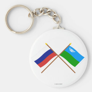 Crossed flags of Russia & Khantia-Mansi Auto Okrug Basic Round Button Keychain