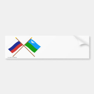 Crossed flags of Russia Khantia-Mansi Auto Okrug Bumper Sticker