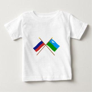 Crossed flags of Russia & Khantia-Mansi Auto Okrug T Shirts