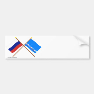 Crossed flags of Russia Yamalo-Nenets Auto Okrug Bumper Stickers