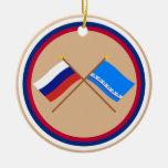 Crossed flags of Russia & Yamalo-Nenets Auto Okrug Ornament