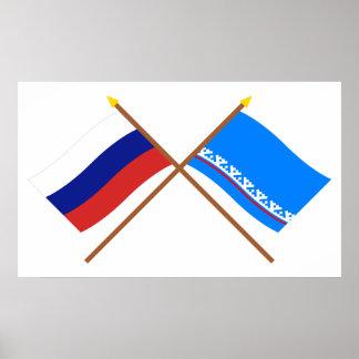 Crossed flags of Russia & Yamalo-Nenets Auto Okrug Posters