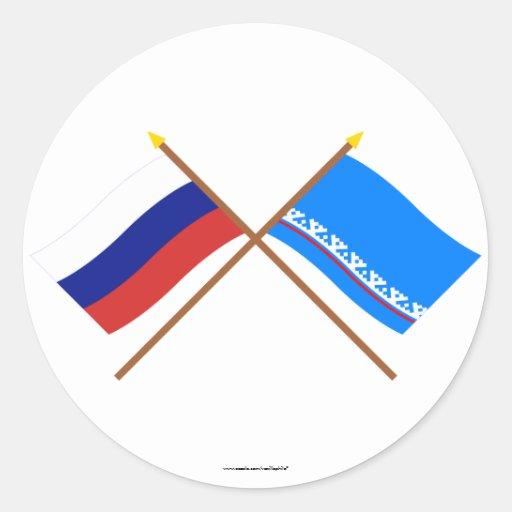 Crossed flags of Russia & Yamalo-Nenets Auto Okrug Round Sticker