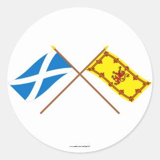 Crossed Flags of Scotland Classic Round Sticker