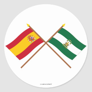 Crossed flags of Spain and Andalucía Classic Round Sticker
