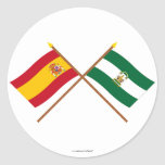 Crossed flags of Spain and Andalucía Stickers