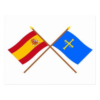 Crossed flags of Spain and Asturias Postcard