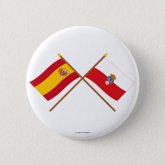 Crossed flags of Spain and Cantabria Button