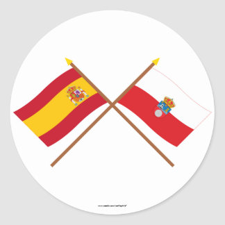 Crossed flags of Spain and Cantabria Classic Round Sticker