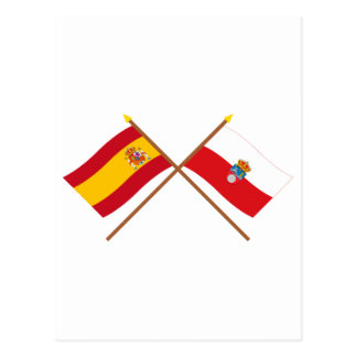 Crossed flags of Spain and Cantabria Postcard