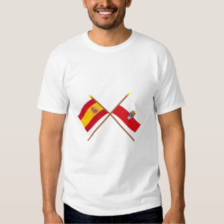 Crossed flags of Spain and Cantabria T-Shirt