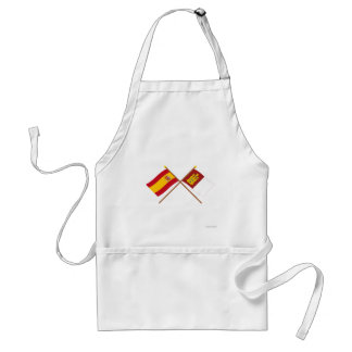Crossed flags of Spain and Castilla-La Mancha Adult Apron