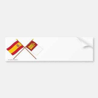 Crossed flags of Spain and Castilla-La Mancha Bumper Sticker