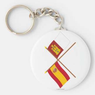 Crossed flags of Spain and Castilla-La Mancha Basic Round Button Keychain