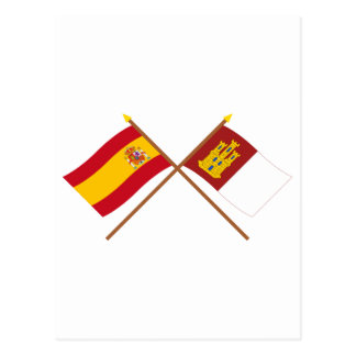 Crossed flags of Spain and Castilla-La Mancha Postcard