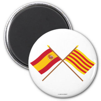 Crossed flags of Spain and Cataluña Magnet