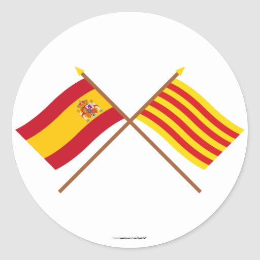 Crossed flags of Spain and Cataluña Classic Round Sticker