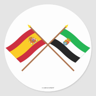 Crossed flags of Spain and Extremadura Classic Round Sticker