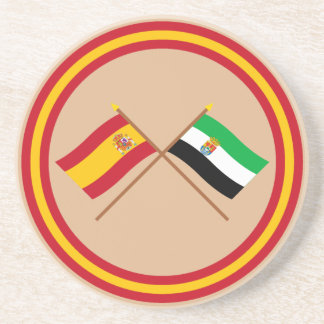 Crossed flags of Spain and Extremadura Coaster