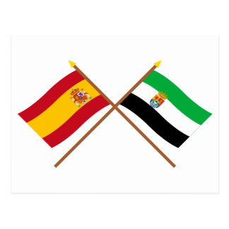 Crossed flags of Spain and Extremadura Postcard