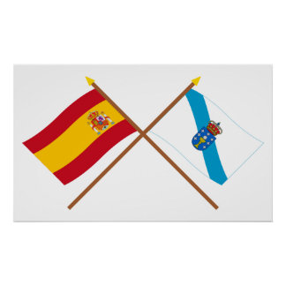 Crossed flags of Spain and Galicia Poster