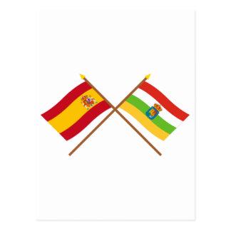 Crossed flags of Spain and La Rioja Postcard